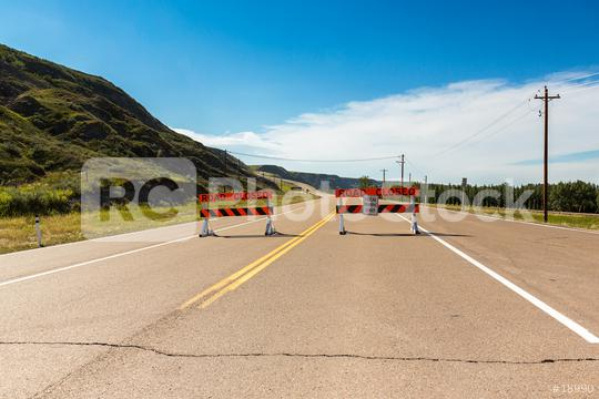 road closed at the road to drumheller in canada  : Stock Photo or Stock Video Download rcfotostock photos, images and assets rcfotostock | RC-Photo-Stock.: