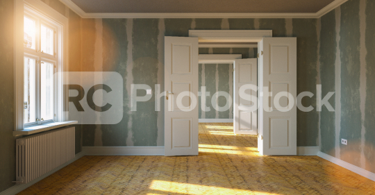 Room in renovation in elegant apartment for relocation with Flattened drywall walls  : Stock Photo or Stock Video Download rcfotostock photos, images and assets rcfotostock | RC-Photo-Stock.: