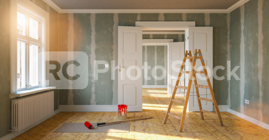 Room in renovation in elegant apartment for relocation with paint bucket and  Flattened drywall walls  : Stock Photo or Stock Video Download rcfotostock photos, images and assets rcfotostock | RC-Photo-Stock.: