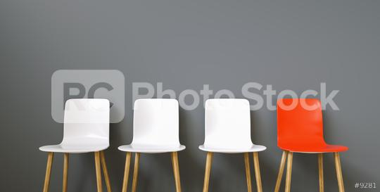 Row of chairs with one red. Job opportunity. Business leadership. recruitment concept  : Stock Photo or Stock Video Download rcfotostock photos, images and assets rcfotostock | RC-Photo-Stock.: