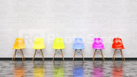 Row of colorful chairs in a waiting room, Job opportunity, Business leadership concept image - 3D rendering  : Stock Photo or Stock Video Download rcfotostock photos, images and assets rcfotostock   RC-Photo-Stock.:
