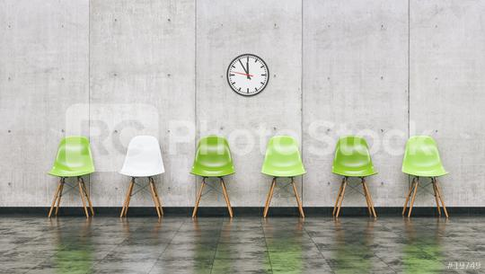 Row of green chairs in a waiting room with wall clock, business concept image - 3D rendering  : Stock Photo or Stock Video Download rcfotostock photos, images and assets rcfotostock | RC-Photo-Stock.: