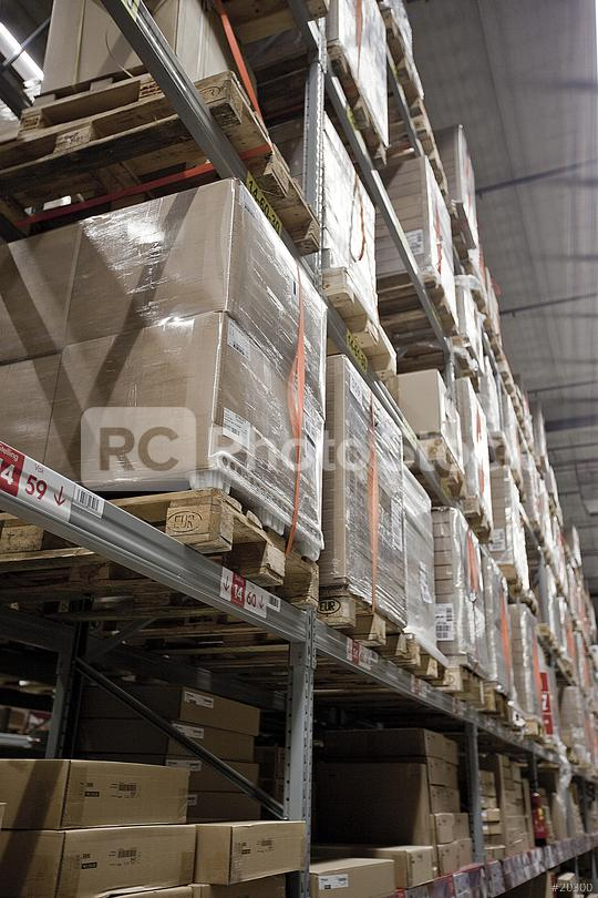 Rows Of Shelves With Boxes In Warehouse  : Stock Photo or Stock Video Download rcfotostock photos, images and assets rcfotostock | RC-Photo-Stock.: