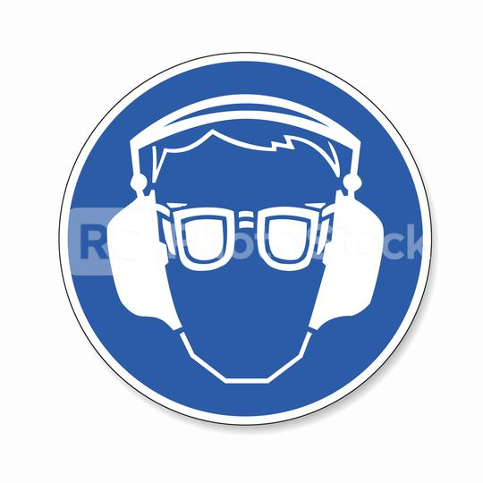 Safety glasses and ear protection must be worn. Ear and eye protection must be worn, mandatory sign or safety sign, on white background. Vector illustration. Eps 10 vector file.  : Stock Photo or Stock Video Download rcfotostock photos, images and assets rcfotostock | RC-Photo-Stock.: