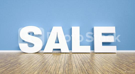 sale text agaisnt a blue wall background - 3D Rendering  : Stock Photo or Stock Video Download rcfotostock photos, images and assets rcfotostock | RC-Photo-Stock.: