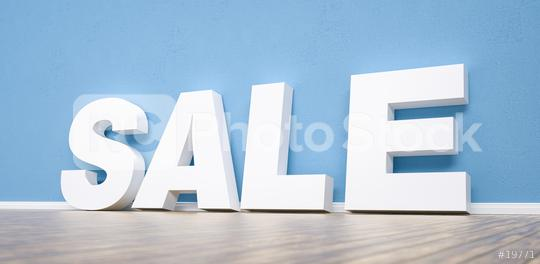 sale text leaning on a blue wall background - 3D Rendering  : Stock Photo or Stock Video Download rcfotostock photos, images and assets rcfotostock | RC-Photo-Stock.: