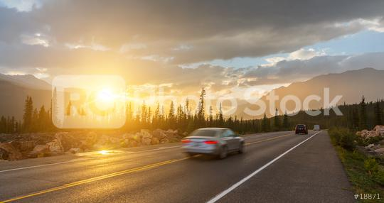 Scenic Icefields Pkwy in Banff National Park at sunset. It travels through Banff and Jasper National Parks and offers spectacular views of the Rocky mountains.  : Stock Photo or Stock Video Download rcfotostock photos, images and assets rcfotostock | RC-Photo-Stock.: