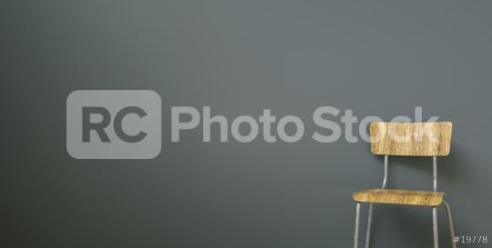 School chair in front of a grey wall, with copy space for individual text   : Stock Photo or Stock Video Download rcfotostock photos, images and assets rcfotostock | RC-Photo-Stock.: