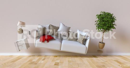 Schwerelos schwebendes Sofa im Wohnzimmer  : Stock Photo or Stock Video Download rcfotostock photos, images and assets rcfotostock | RC-Photo-Stock.: