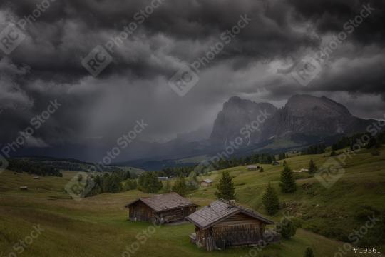 Seiseralm mit Gewitter, Wolken, Regen Hütten, Berge  : Stock Photo or Stock Video Download rcfotostock photos, images and assets rcfotostock | RC-Photo-Stock.: