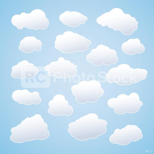 Set of white sky clouds. Cloud icons or shapes. Set of different cloud collections. Vector illustration. Eps 10 vector file.   : Stock Photo or Stock Video Download rcfotostock photos, images and assets rcfotostock   RC-Photo-Stock.: