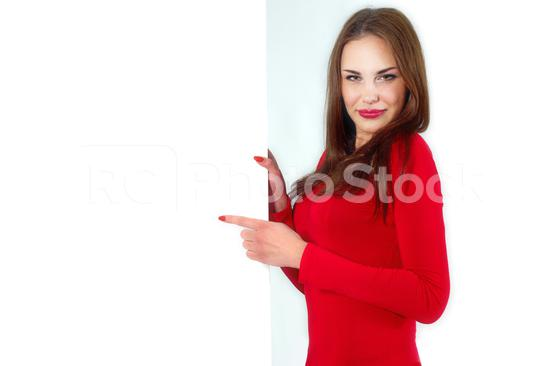 Sexy girl hold a banner  : Stock Photo or Stock Video Download rcfotostock photos, images and assets rcfotostock | RC-Photo-Stock.:
