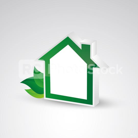 shape of house with green leafs and copyspace for your individual text. Eco home real estate design template, 3d design. Vector illustration. Eps 10 vector file.   : Stock Photo or Stock Video Download rcfotostock photos, images and assets rcfotostock | RC-Photo-Stock.: