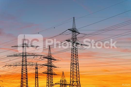 Silhouette High voltage electric tower on sunset time and sky on sunset time background  : Stock Photo or Stock Video Download rcfotostock photos, images and assets rcfotostock | RC-Photo-Stock.:
