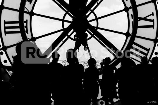 silhouette of the clock with crowd of people  : Stock Photo or Stock Video Download rcfotostock photos, images and assets rcfotostock | RC-Photo-Stock.: