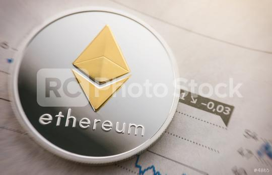 Silver ethereum coin cryptocurrency on a exchange chart  : Stock Photo or Stock Video Download rcfotostock photos, images and assets rcfotostock | RC-Photo-Stock.: