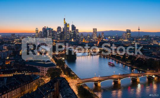 Skyline of Frankfurt am Main city at summer sunset  : Stock Photo or Stock Video Download rcfotostock photos, images and assets rcfotostock   RC-Photo-Stock.: