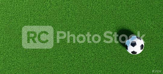 Soccer ball on a green grass as a panorama background, banner size  : Stock Photo or Stock Video Download rcfotostock photos, images and assets rcfotostock | RC-Photo-Stock.: