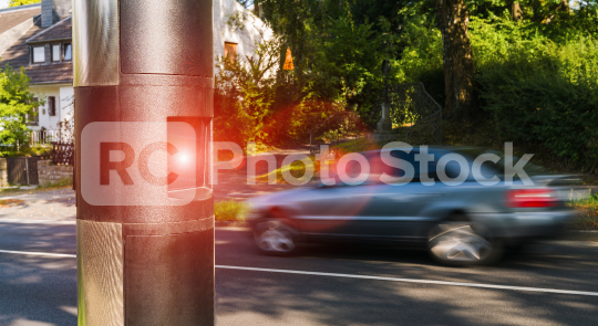 Speed camera on the side walk in a german town  : Stock Photo or Stock Video Download rcfotostock photos, images and assets rcfotostock | RC-Photo-Stock.: