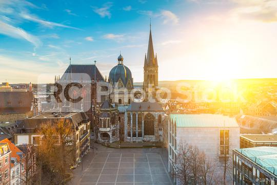 Stadt Aachen mit Aachener Dom und Rathaus  : Stock Photo or Stock Video Download rcfotostock photos, images and assets rcfotostock | RC-Photo-Stock.: