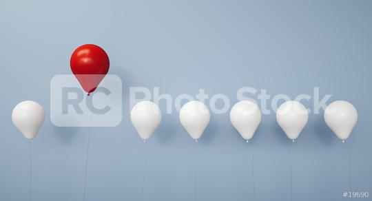 Stand out from the crowd and different concept , One red balloon flying away from other white balloons on light blue pastel color wall background with reflections and shadows - 3D rendering  : Stock Photo or Stock Video Download rcfotostock photos, images and assets rcfotostock | RC-Photo-Stock.: