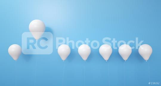 Stand out from the crowd concept with white balloons and a red balloon - 3d rendering  : Stock Photo or Stock Video Download rcfotostock photos, images and assets rcfotostock | RC-Photo-Stock.: