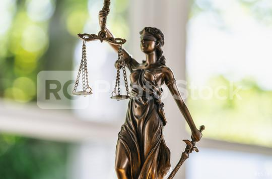 Statue of Justice - lady justice or Iustitia / Justitia the Roman goddess of Justice in a lawyer office  : Stock Photo or Stock Video Download rcfotostock photos, images and assets rcfotostock | RC-Photo-Stock.: