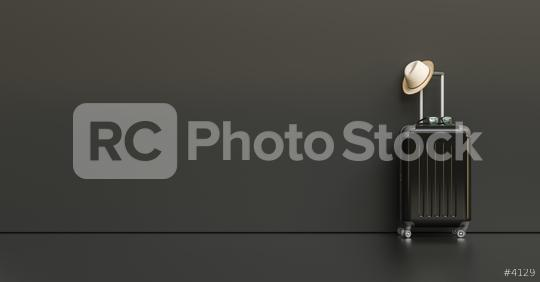 Suitcase with hat and sunglasses on black background. travel concept, with copy space for individual text  : Stock Photo or Stock Video Download rcfotostock photos, images and assets rcfotostock | RC-Photo-Stock.: