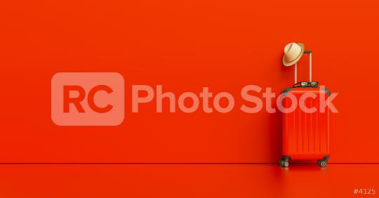 Suitcase with hat and sunglasses on red background. travel concept, with copy space for individual text  : Stock Photo or Stock Video Download rcfotostock photos, images and assets rcfotostock | RC-Photo-Stock.: