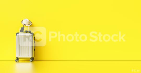 Suitcase with hat, sunglasses and smartphone on yellow background. travel concept, with copy space for individual text  : Stock Photo or Stock Video Download rcfotostock photos, images and assets rcfotostock | RC-Photo-Stock.: