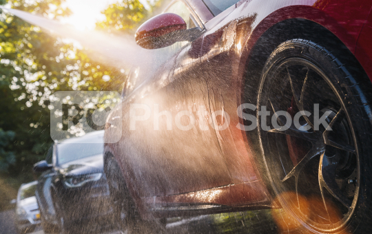 Summer Car Washing. Cleaning Car Using High Pressure Water.   : Stock Photo or Stock Video Download rcfotostock photos, images and assets rcfotostock | RC-Photo-Stock.: