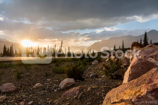 Sunset at the Rocky Mountains Road to jasper in canada  : Stock Photo or Stock Video Download rcfotostock photos, images and assets rcfotostock | RC-Photo-Stock.: