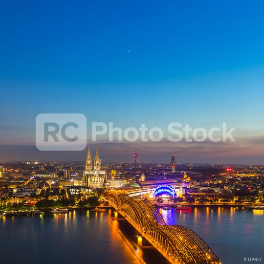 Sunset over cologne city with cathedra in summer  : Stock Photo or Stock Video Download rcfotostock photos, images and assets rcfotostock | RC-Photo-Stock.:
