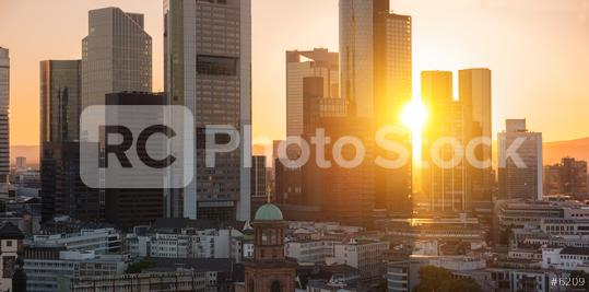 Sunset over Frankfurt skyline at summer  : Stock Photo or Stock Video Download rcfotostock photos, images and assets rcfotostock | RC-Photo-Stock.:
