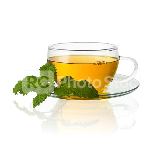 teacup tea with mint peppermint leaf hot drink aroma isolated on white background with reflection  : Stock Photo or Stock Video Download rcfotostock photos, images and assets rcfotostock | RC-Photo-Stock.: