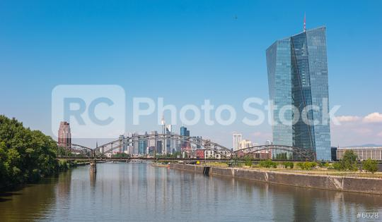 The European Central Bank with Frankfurt city Skyline  : Stock Photo or Stock Video Download rcfotostock photos, images and assets rcfotostock   RC-Photo-Stock.: