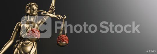 The Statue of Justice - lady justice or Iustitia / Justitia the Roman goddess of Justice with coronavirus covid-19 in scale, law concept image, banner size  : Stock Photo or Stock Video Download rcfotostock photos, images and assets rcfotostock | RC-Photo-Stock.: