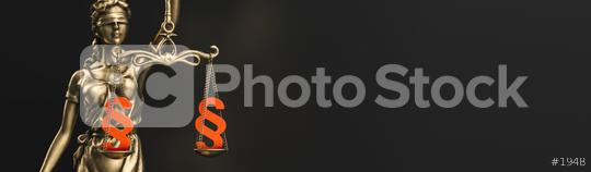 The Statue of Justice - lady justice or Iustitia / Justitia the Roman goddess of Justice with paragraph signs in scale, law concept image, banner size  : Stock Photo or Stock Video Download rcfotostock photos, images and assets rcfotostock | RC-Photo-Stock.:
