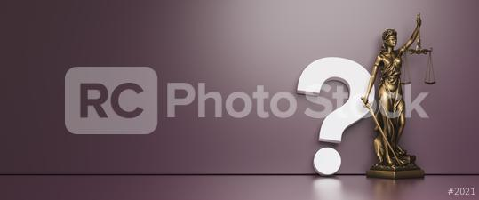 The Statue of Justice - lady justice or Iustitia / Justitia the Roman goddess of Justice with question mark in front of a purple color wall background  : Stock Photo or Stock Video Download rcfotostock photos, images and assets rcfotostock | RC-Photo-Stock.: