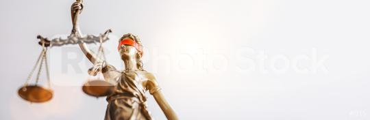 The Statue of Justice - lady justice or Iustitia / Justitia the Roman goddess of Justice with red blindfold, banner size, copyspace for your individual text.  : Stock Photo or Stock Video Download rcfotostock photos, images and assets rcfotostock | RC-Photo-Stock.: