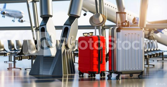 Time to explore. Two travel suitcases in empty departure terminal, vacation concept, suitcases in airport waiting area hall with big light windows  : Stock Photo or Stock Video Download rcfotostock photos, images and assets rcfotostock | RC-Photo-Stock.: