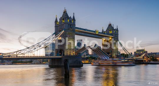 Tower Bridge at sunset opening up, London.  : Stock Photo or Stock Video Download rcfotostock photos, images and assets rcfotostock | RC-Photo-Stock.: