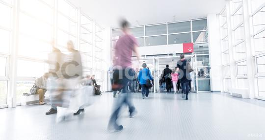 trade fair entrance with Blurred people  : Stock Photo or Stock Video Download rcfotostock photos, images and assets rcfotostock | RC-Photo-Stock.: