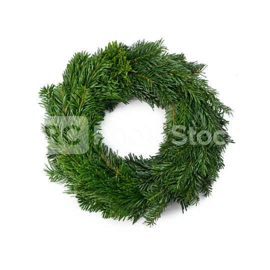 traditional green christmas wreath isolated on white background. festive decoration symbol  : Stock Photo or Stock Video Download rcfotostock photos, images and assets rcfotostock   RC-Photo-Stock.: