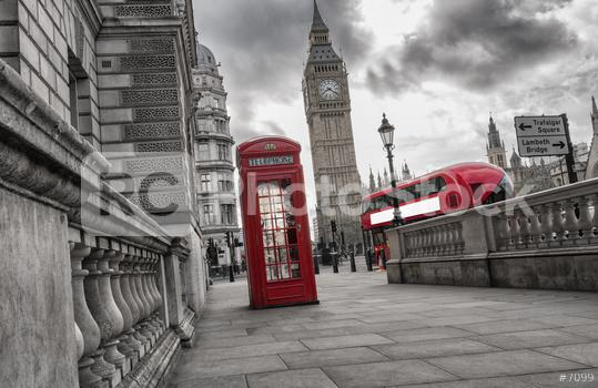 Traditional red british telephone box with Big Ben and Double Decker bus  : Stock Photo or Stock Video Download rcfotostock photos, images and assets rcfotostock | RC-Photo-Stock.:
