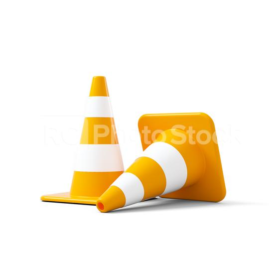 traffic cones with white and orange stripes on white background. 3D rendering  : Stock Photo or Stock Video Download rcfotostock photos, images and assets rcfotostock | RC-Photo-Stock.: