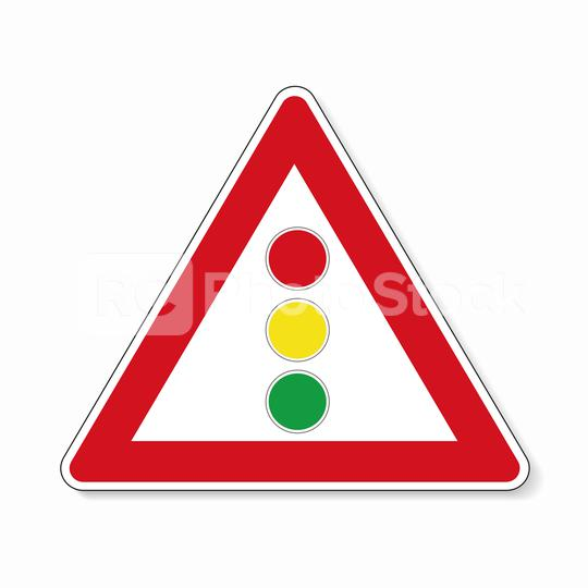 traffic sign traffic lights. German sign warning about traffic lights on white background. Vector illustration. Eps 10 vector file.  : Stock Photo or Stock Video Download rcfotostock photos, images and assets rcfotostock | RC-Photo-Stock.: