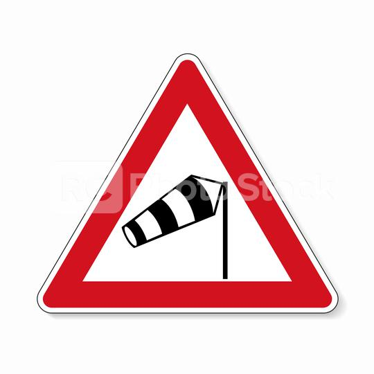 traffic sign wind vane. Old design (1992) of a German sign warning about cross wind from the right on white background. Vector illustration. Eps 10 vector file.  : Stock Photo or Stock Video Download rcfotostock photos, images and assets rcfotostock | RC-Photo-Stock.: