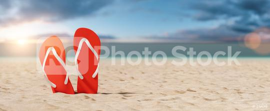Two red flip-flop sandals in the beach against sunset sky in summer  : Stock Photo or Stock Video Download rcfotostock photos, images and assets rcfotostock | RC-Photo-Stock.:
