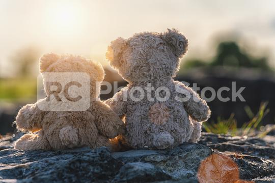 Two teddy bear toys sitting on a stone and holding hands with sunset light, rear view. Love theme. Greeting or gift card design idea.  : Stock Photo or Stock Video Download rcfotostock photos, images and assets rcfotostock | RC-Photo-Stock.: